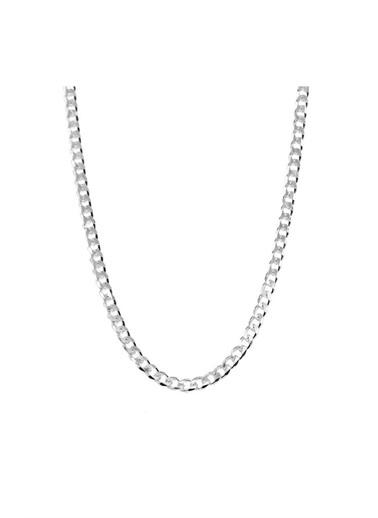 Enesstore 925 Ayar Gurmet Gümüş Erkek Kolye Zincir 3.5 mm 60 cm Beyaz